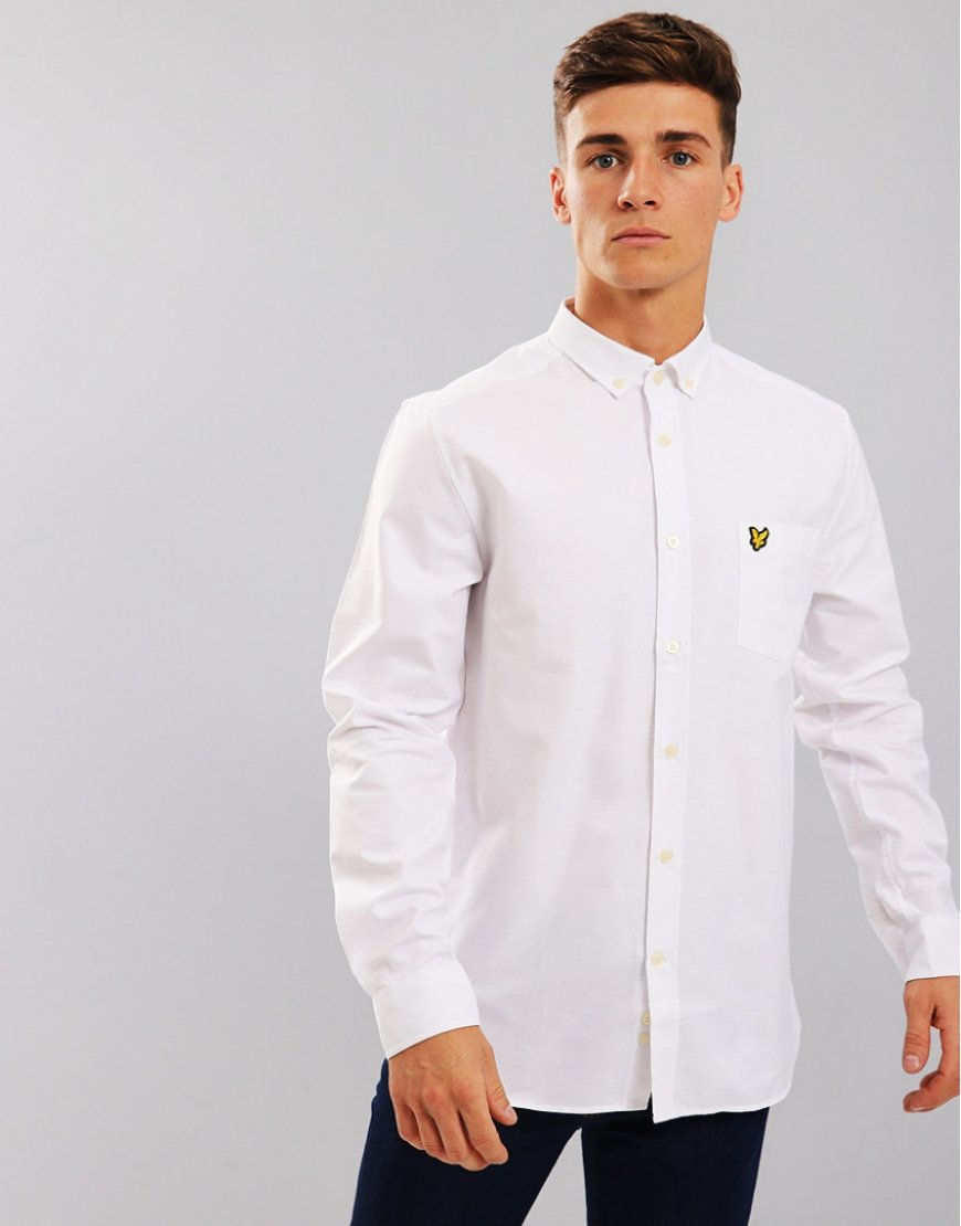 Lyle & Scott Long Sleeved Oxford Shirt  White