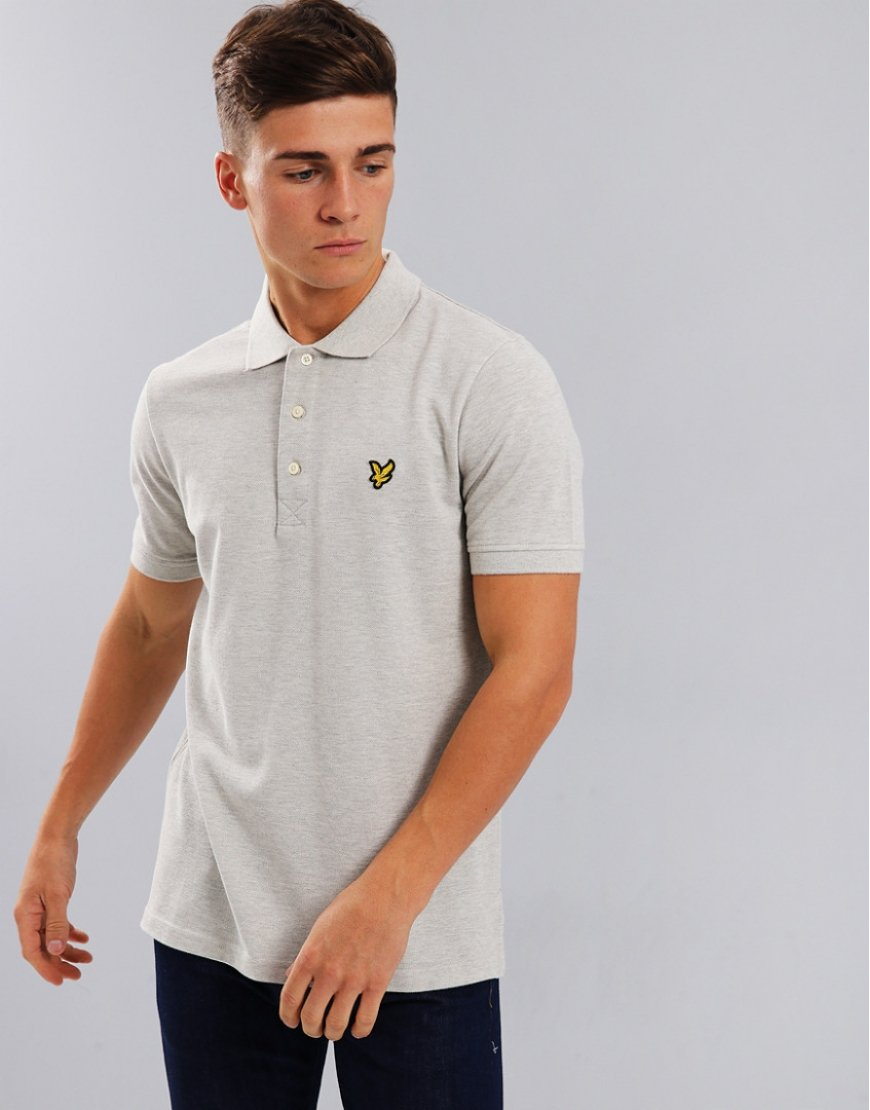 Lyle & Scott Plain Polo Shirt Light Grey Marl