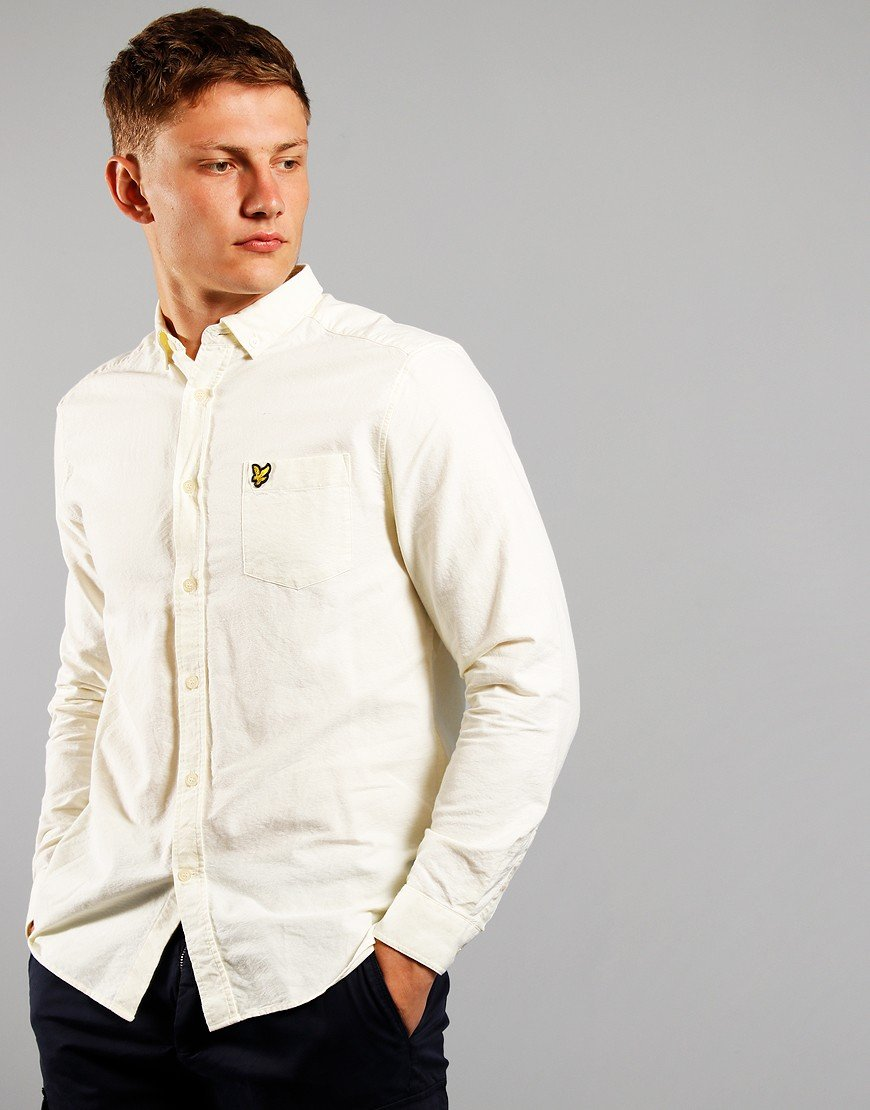 Lyle & Scott Long Sleeved Oxford Shirt Buttercream / White
