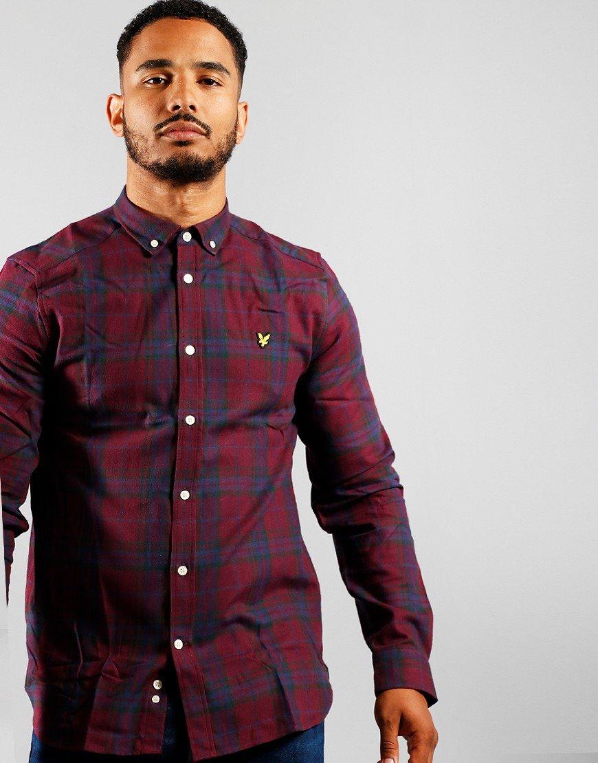 Lyle & Scott Check Flannel Shirt Burgundy