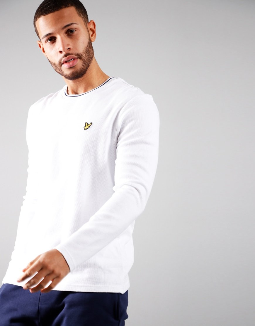 Lyle & Scott Long Sleeved Waffle T-Shirt White
