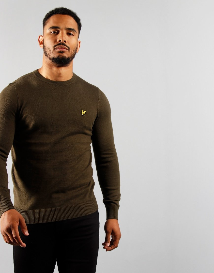Lyle & Scott Merino Crew Trek Green