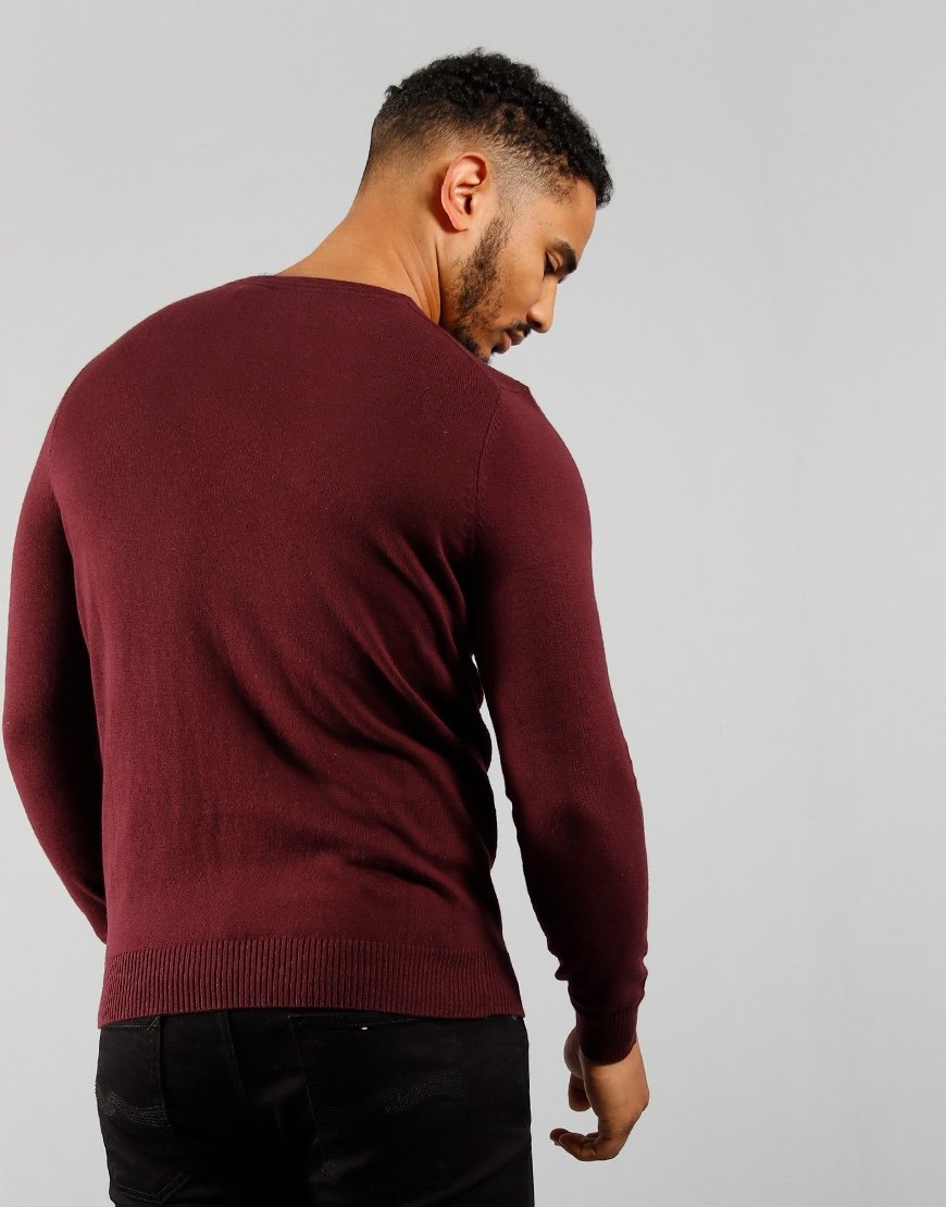 Lyle & Scott Merino Crew Knit Burgundy