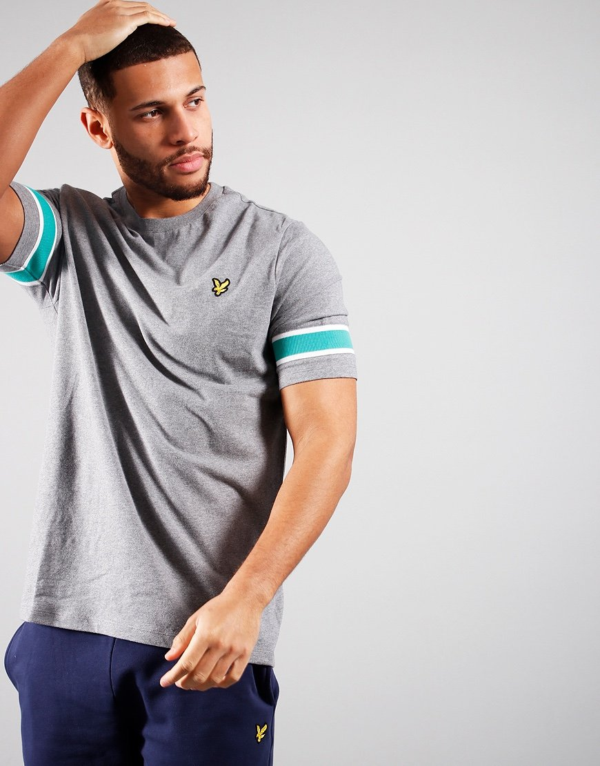 Lyle & Scott Ribbed Sleeve Insert T-Shirt Mid Grey Marl