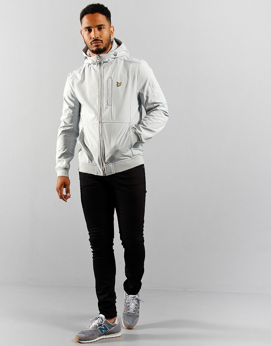 Lyle & Scott Softshell Funnel Neck Zip Through Track Jacket Grey Fog