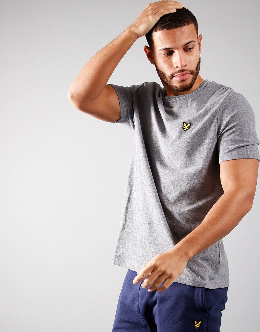 Lyle & Scott Wide Tip T-Shirt Mid Grey Marl