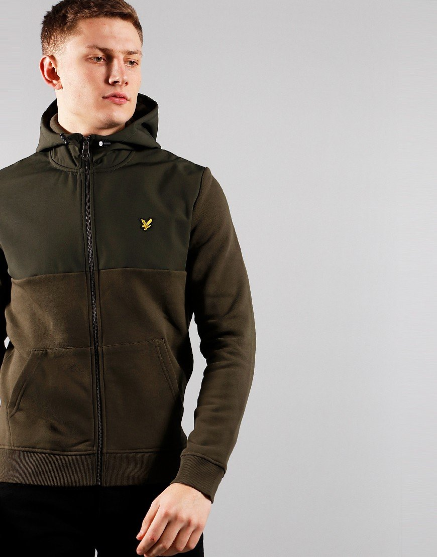 Lyle & Scott Softshell Jersey Hood Jacket Trek Green