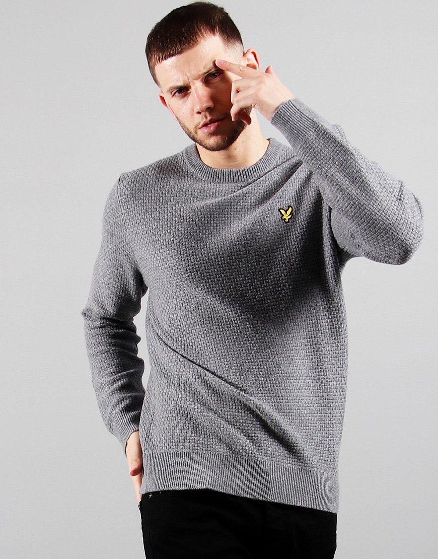 Lyle & Scott Basket Weave Knitted Jumper Mid Grey