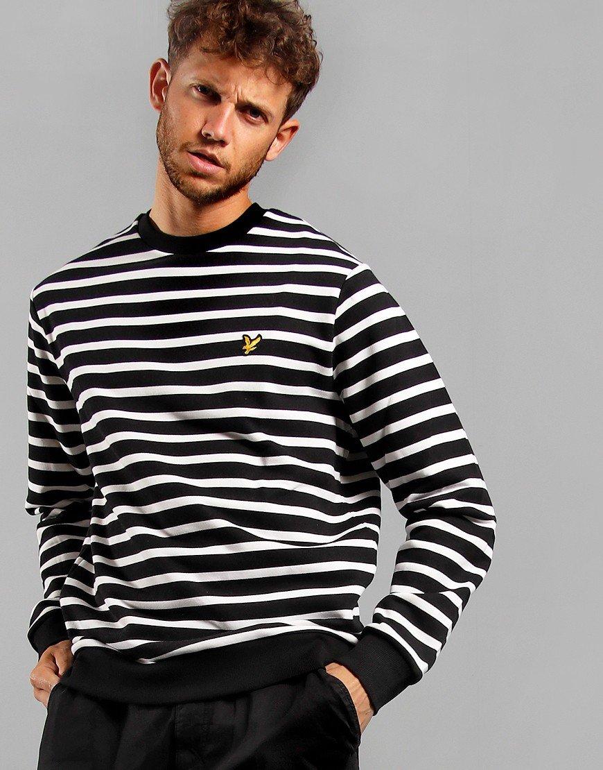 Lyle & Scott Breton Stripe Sweatshirt Jet Black/White