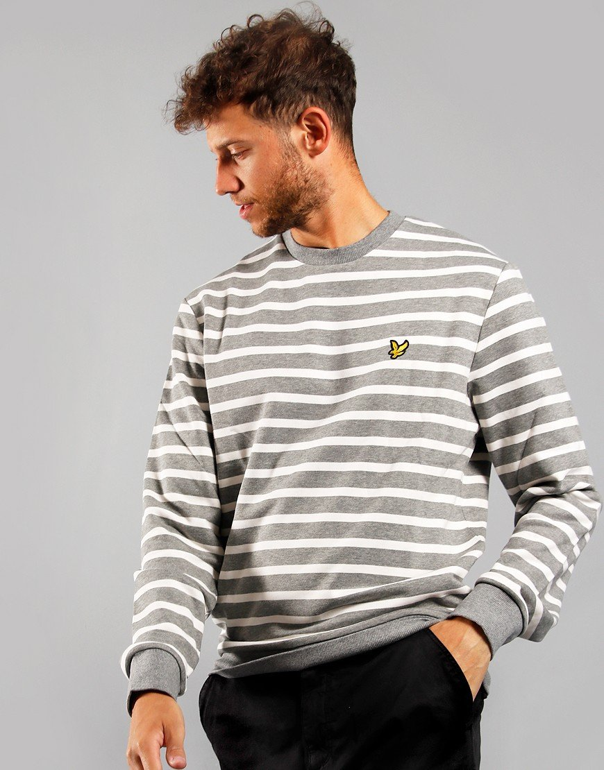 Lyle & Scott Breton Stripe Sweatshirt White/Mid Grey Marl