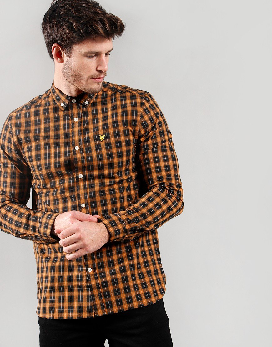 Lyle & Scott Check Poplin Shirt Caramel/Jet Black