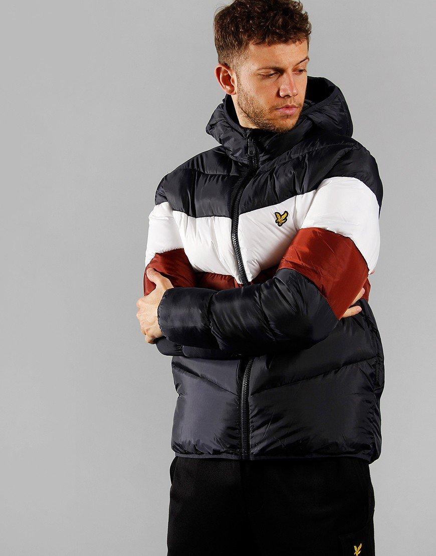 Lyle & Scott Colour Block Puffer Jacket Dark Navy/Brick Red