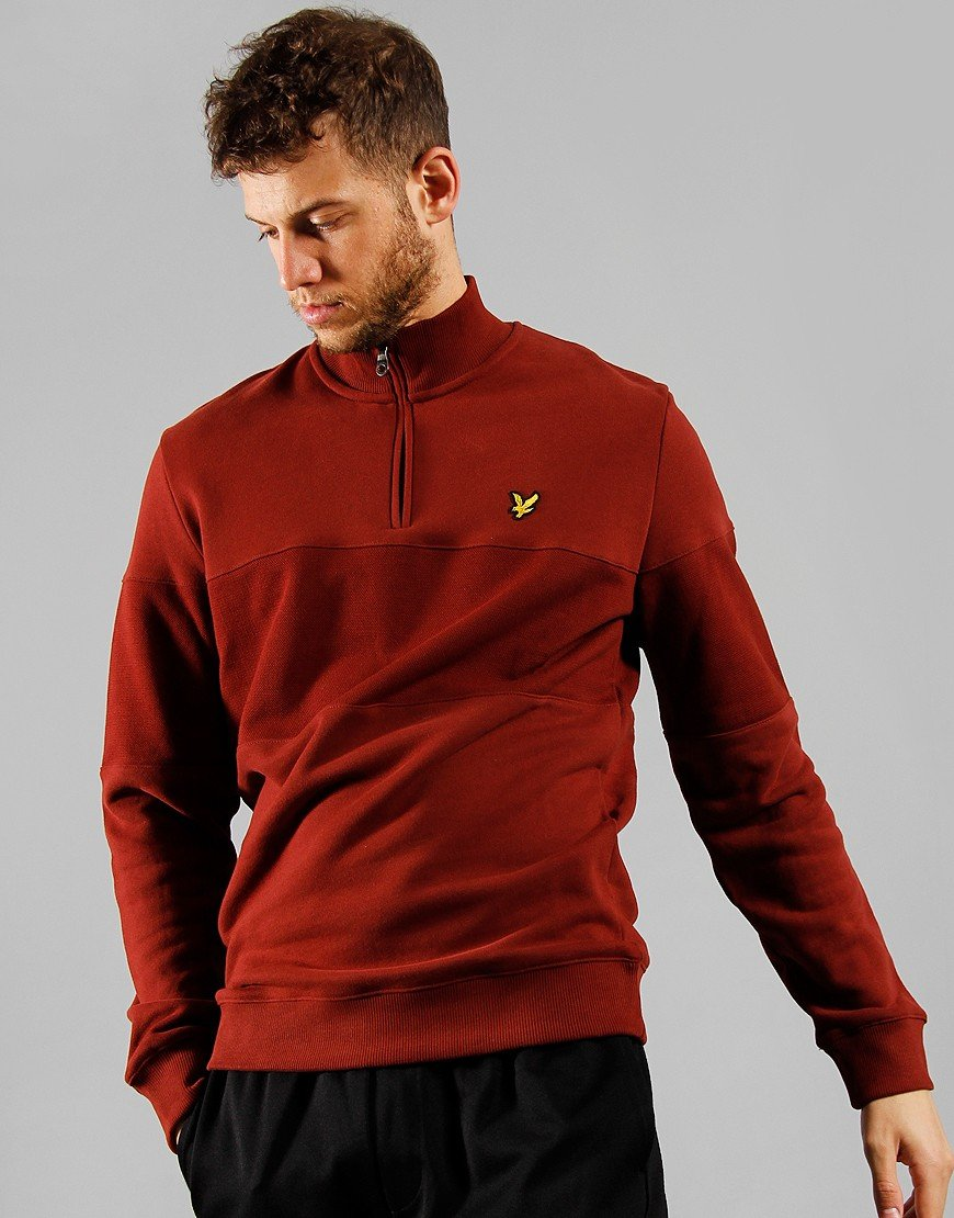 Lyle & Scott Contrast Panel Funnel Neck Sweat Bright Red