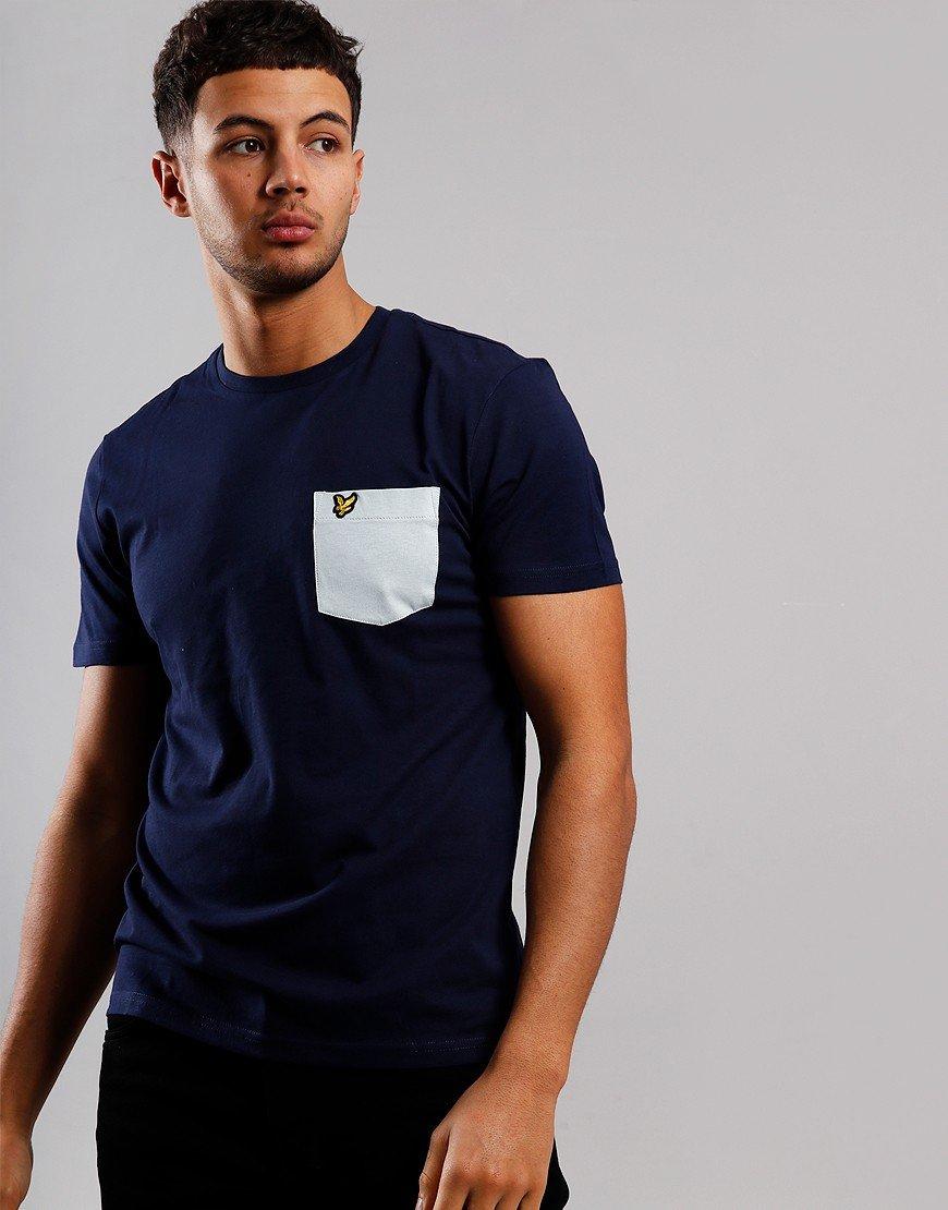 Lyle & Scott Contrast Pocket T-Shirt Navy/Light Silver