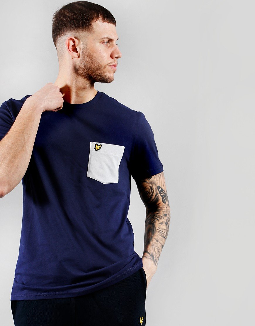 Lyle & Scott Contrast Pocket T-Shirt Navy Dusky Lilac