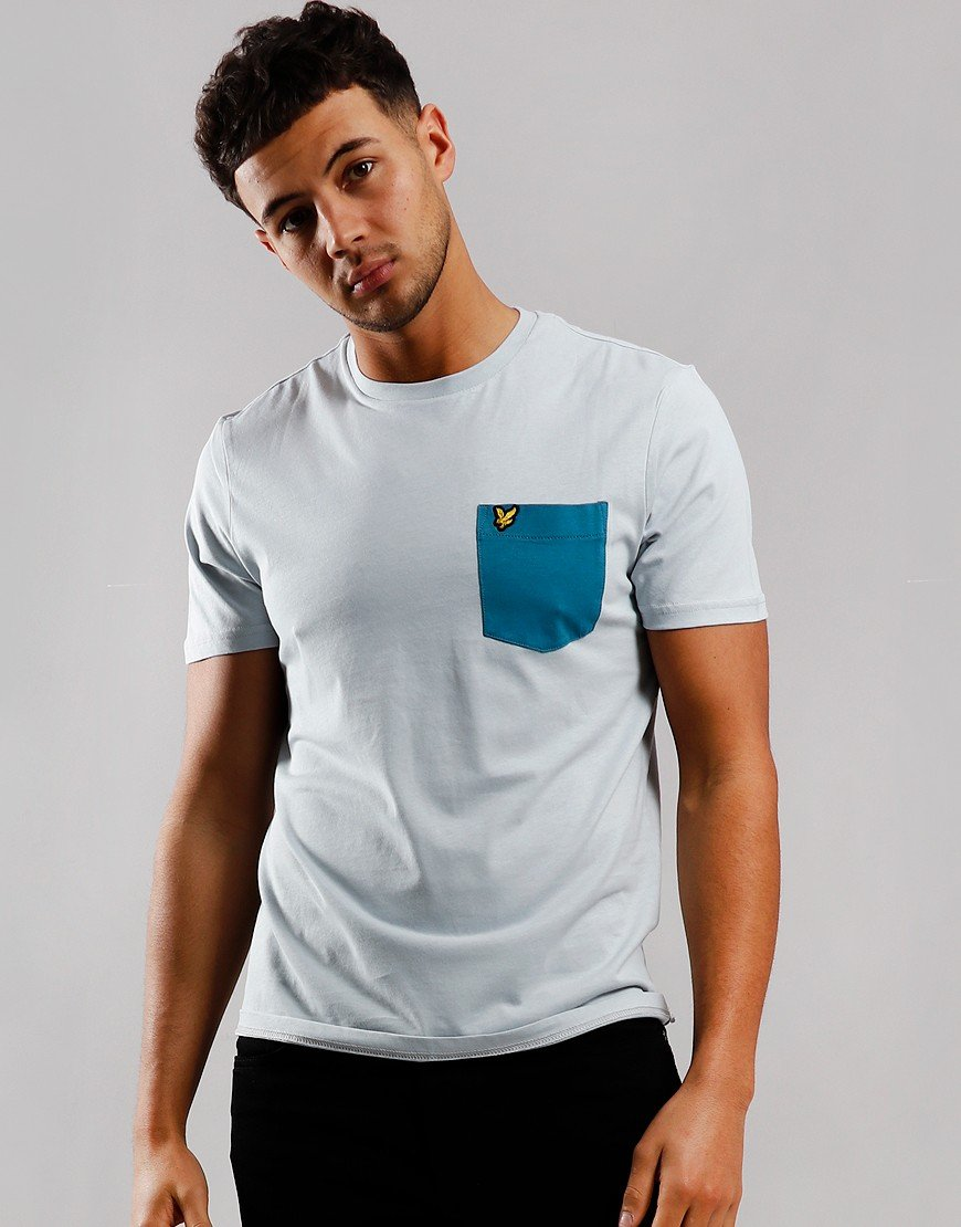 Lyle & Scott Contrast Pocket T-Shirt Silver/Petrol