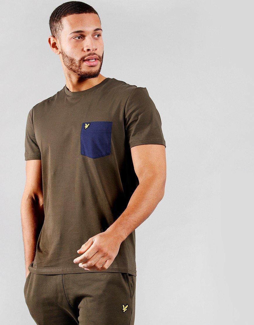Lyle & Scott Contrast Pocket T-Shirt Trek Green/Navy