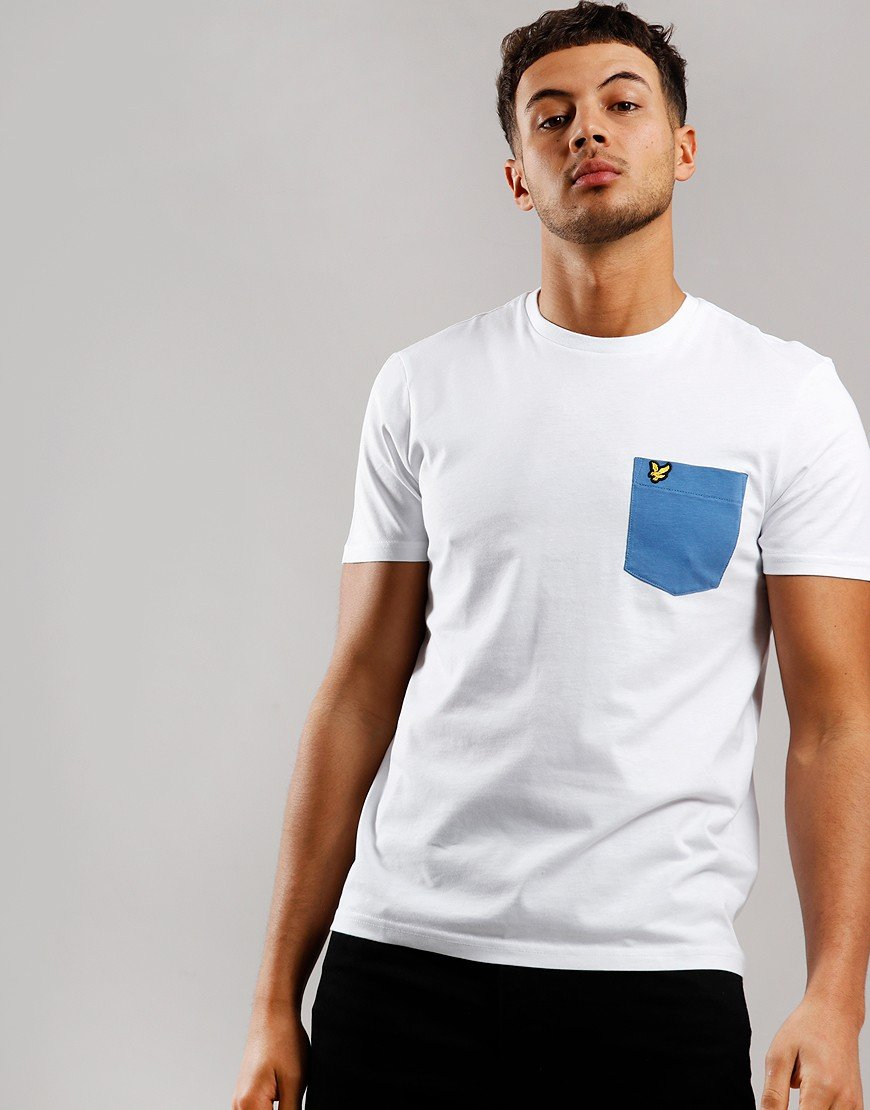 Lyle & Scott Contrast Pocket T-Shirt White/Lapis