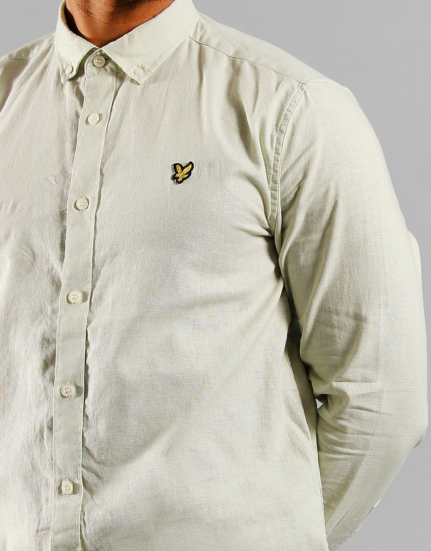 Lyle & Scott Cotton Linen Shirt Cloud Mint
