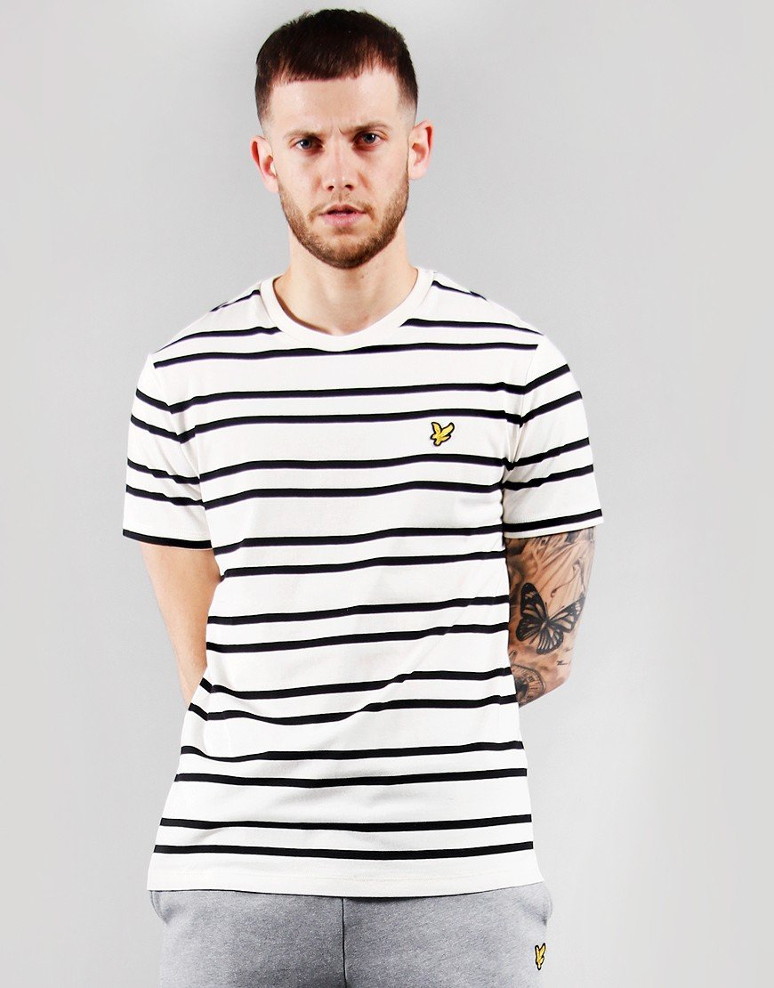 Lyle & Scott Double Stripe T-shirt Vanilla Ice/Jet Black