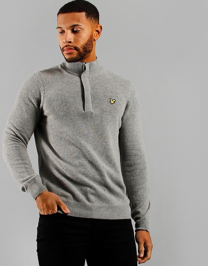 Lyle & Scott 1/4 Zip Funnel Neck Jumper Mid Grey Marl