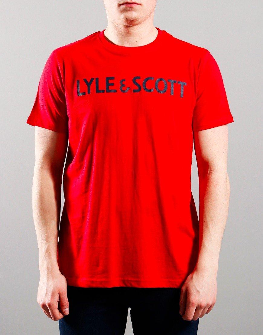 Lyle & Scott Junior Text T-Shirt Tango Red