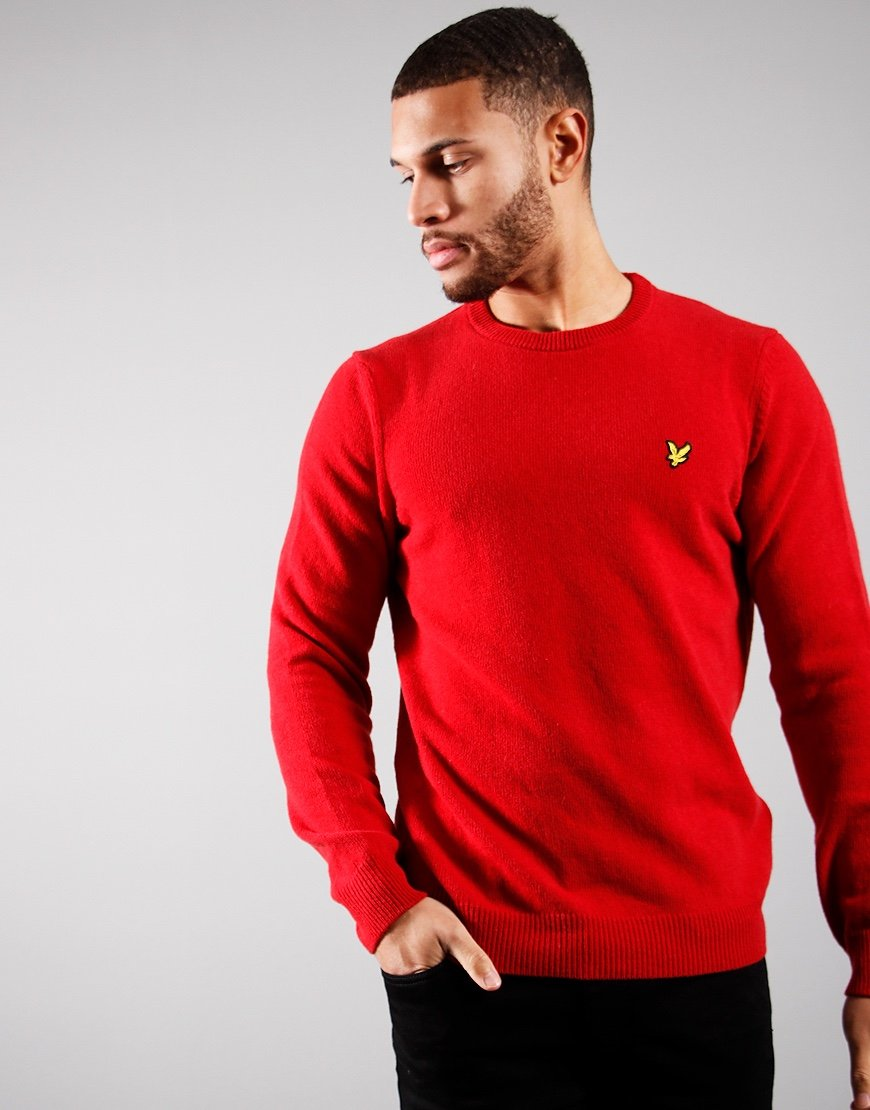Lyle & Scott Lambswool Crew Chilli Pepper Red