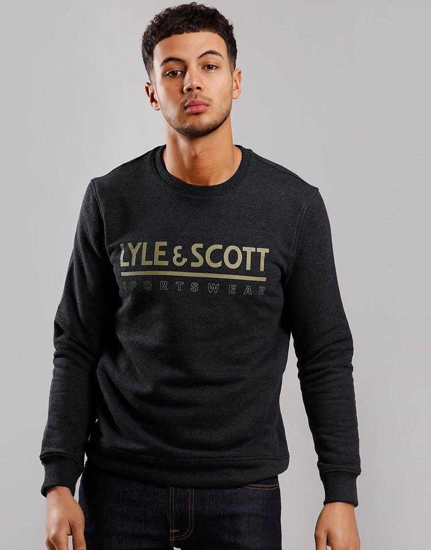 Lyle & Scott Logo Crew Sweat True Black Marl
