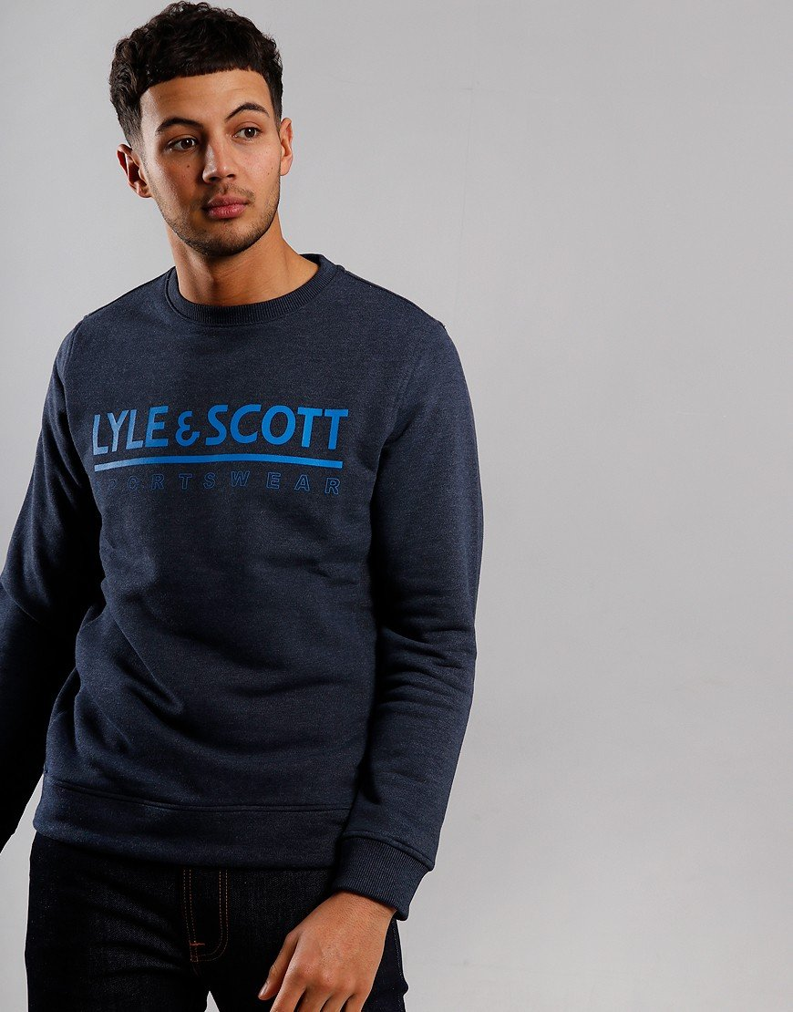 Lyle & Scott Logo Crew Sweat Navy Marl