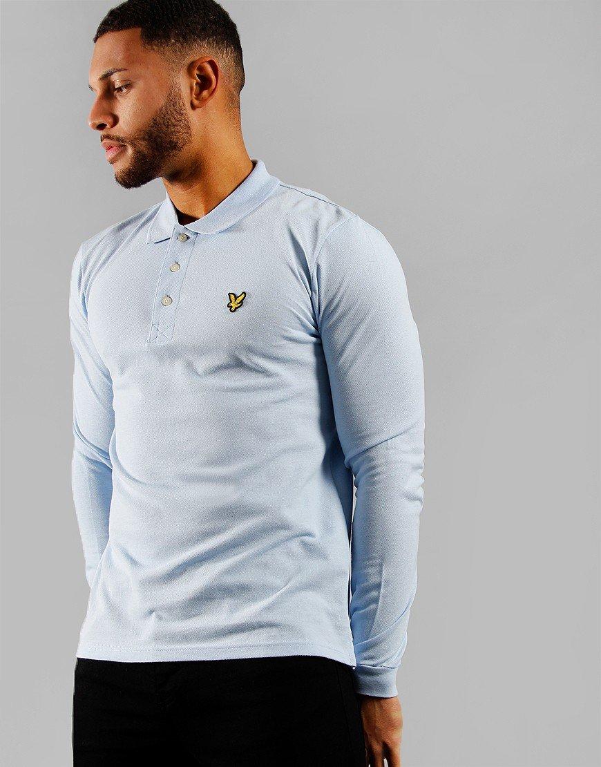 Lyle & Scott Long Sleeve Polo Shirt Pool Blue