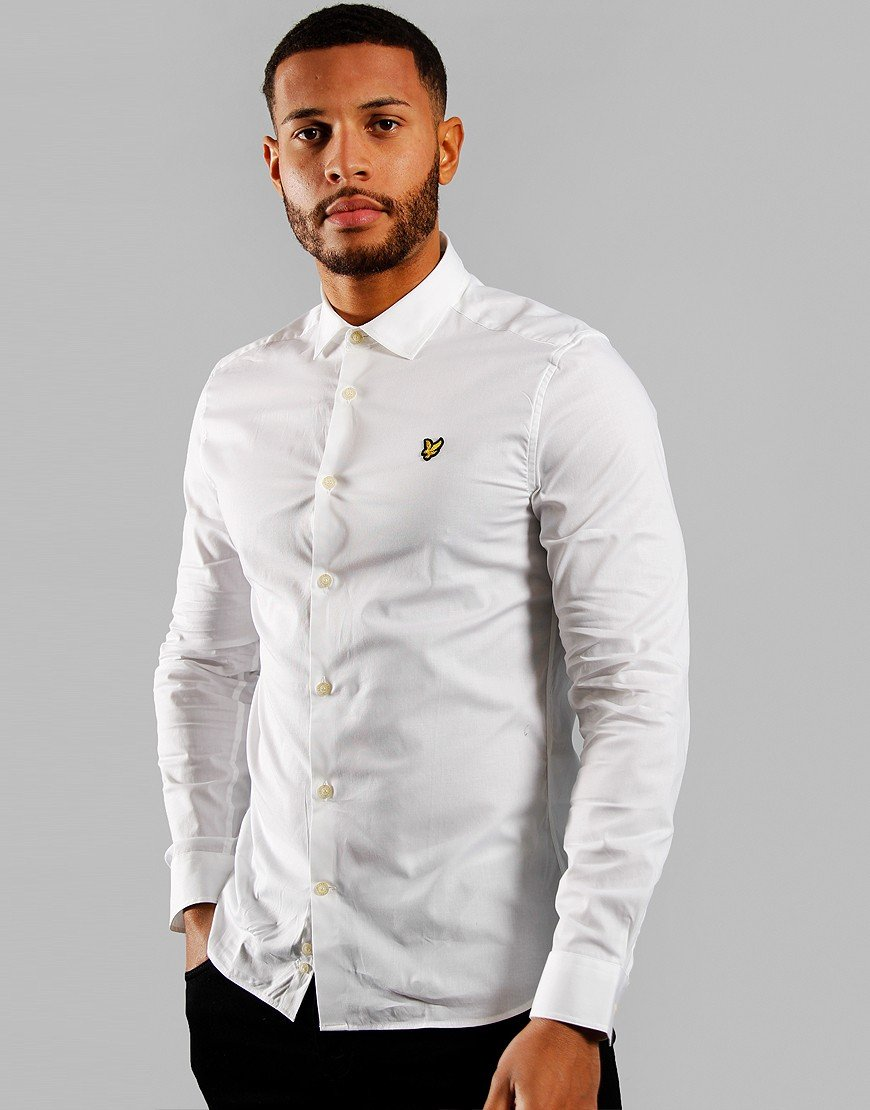 Lyle & Scott Long Sleeve Slim Poplin Shirt White