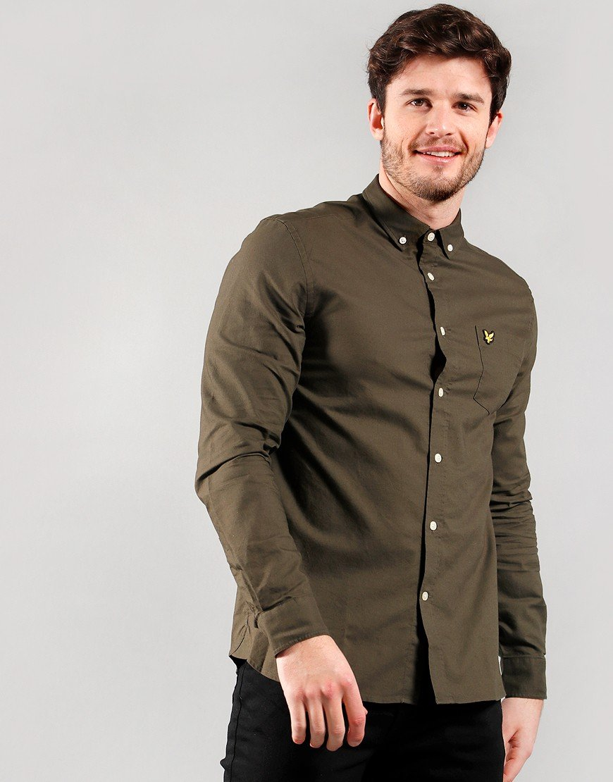 Lyle & Scott Light Weight Long Sleeve Oxford Shirt Trek Green