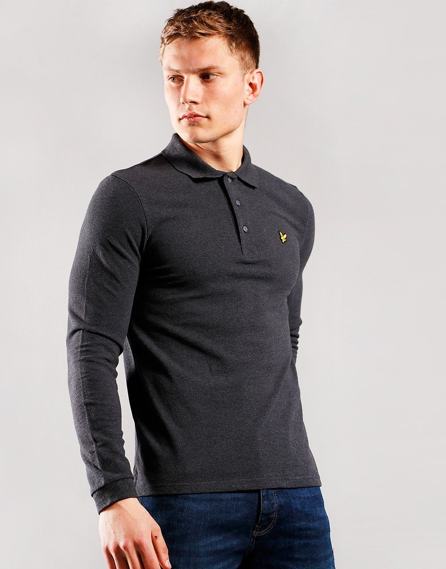 Lyle & Scott Long Sleeve Polo Shirt Charcoal Marl