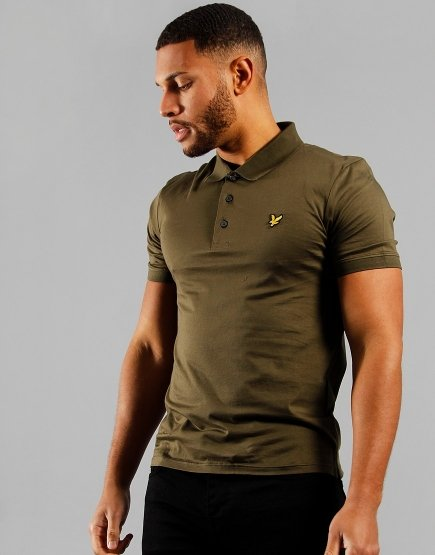 Lyle & Scott Mercerised Jersey Polo Shirt Olive