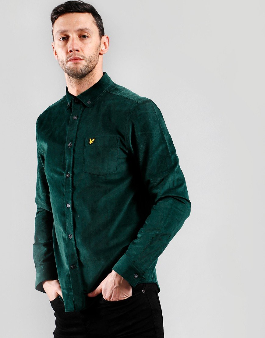 Lyle & Scott Needle Cord Shirt Jade Green