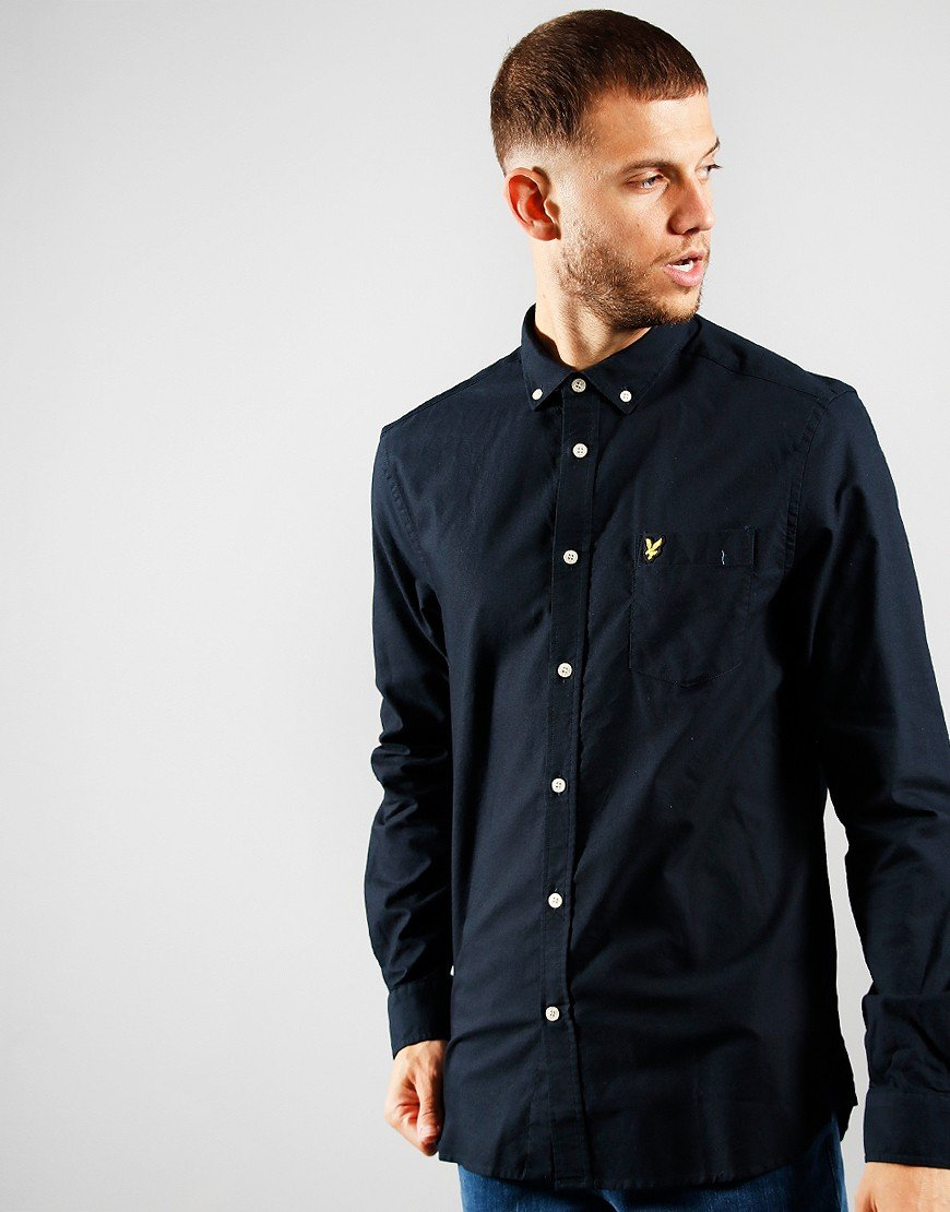 Lyle & Scott Light Weight Long Sleeve Oxford Shirt Dark Navy