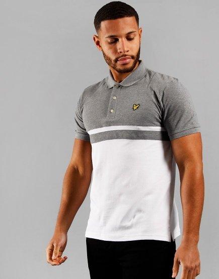 Lyle & Scott Panel Stripe Polo Shirt  Mid Grey/White