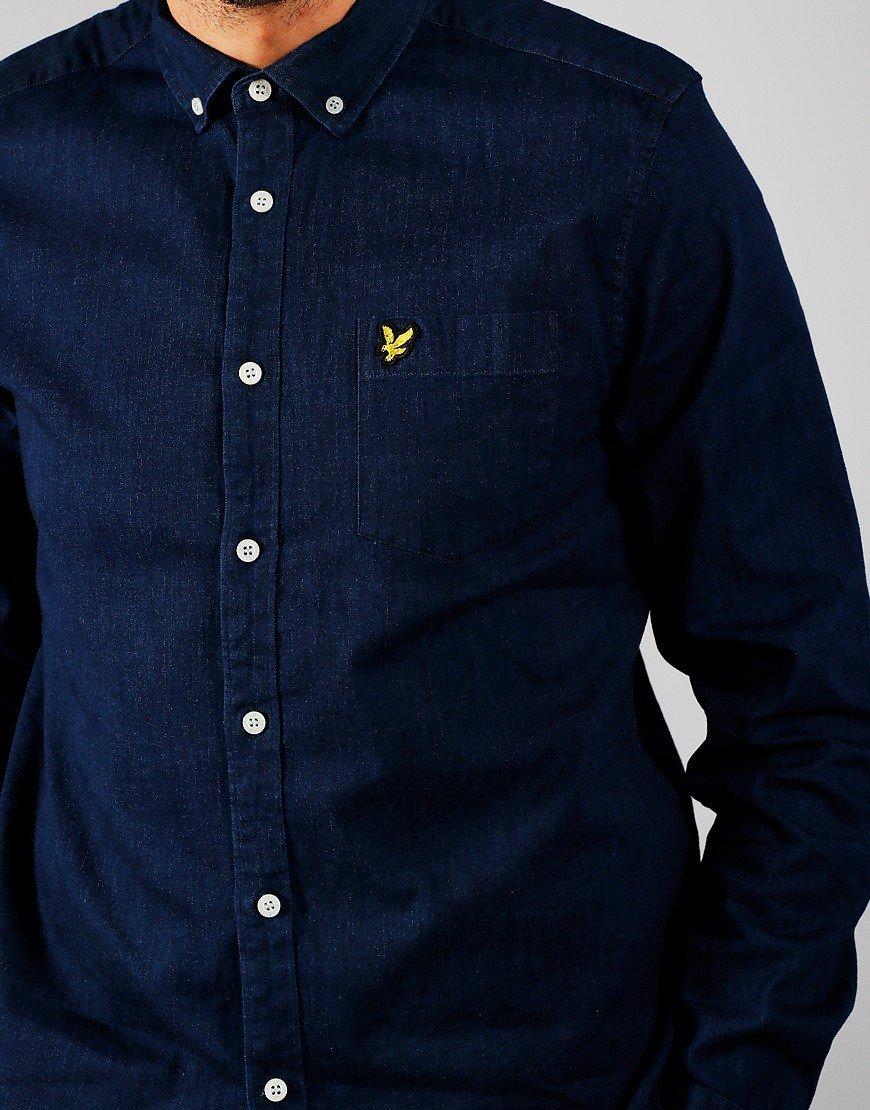Lyle & Scott Long Sleeved Indigo Shirt Indigo Blue