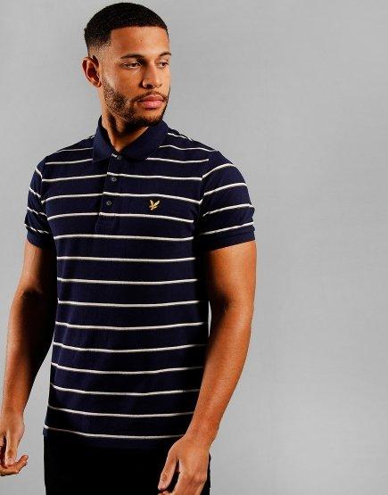 Lyle & Scott Stripe Polo Shirt Navy
