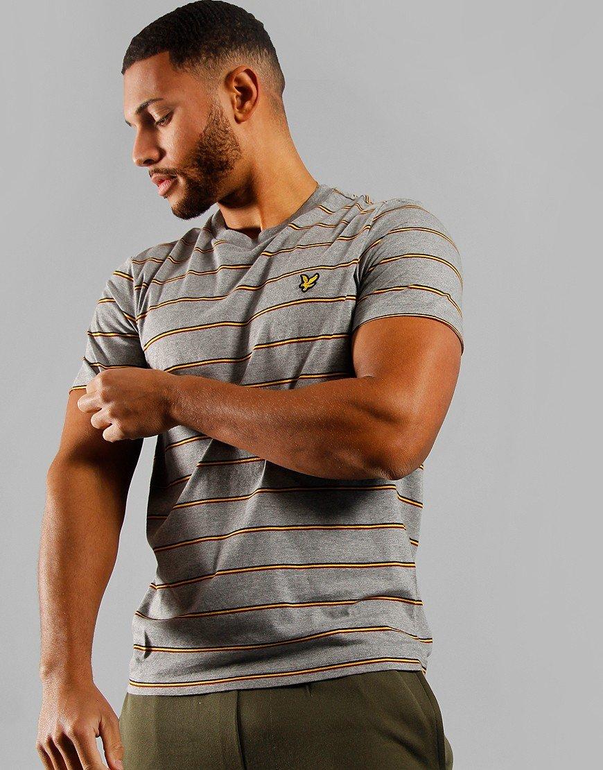 Lyle & Scott Stripe T-Shirt Mid Grey Marl