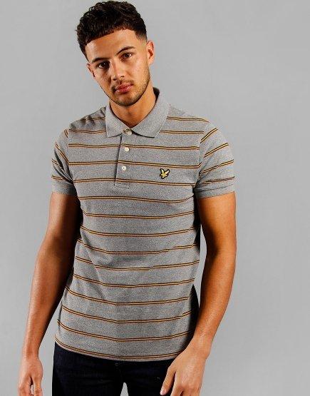 Lyle & Scott Stripe Polo Shirt Mid Grey Marl