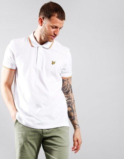 Lyle & Scott Tipped Polo Shirt White/Melon