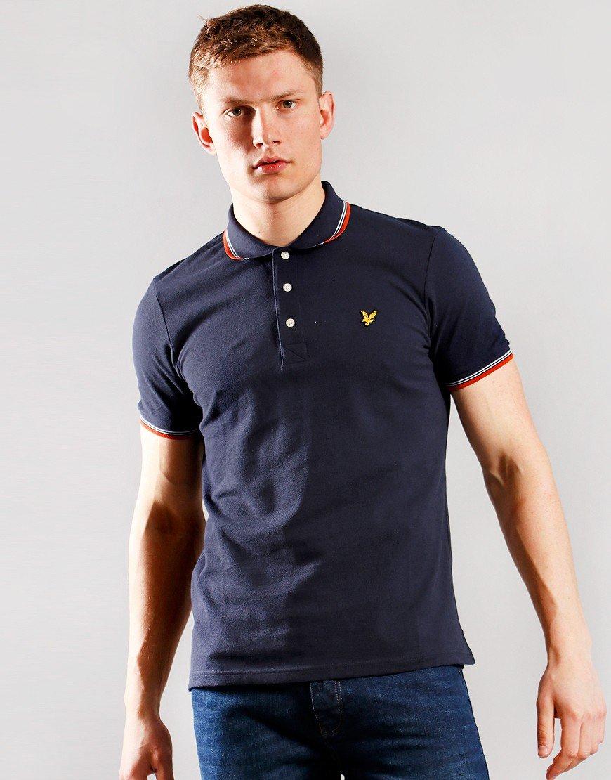 Lyle & Scott Tipped Polo Shirt Dark Navy/Burnt Orange