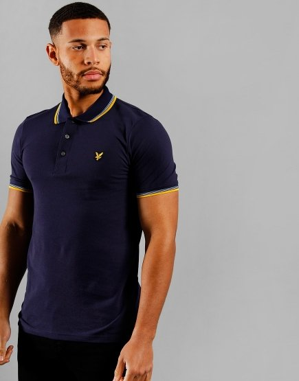 Lyle & Scott Tipped Polo Shirt Navy/Mustard