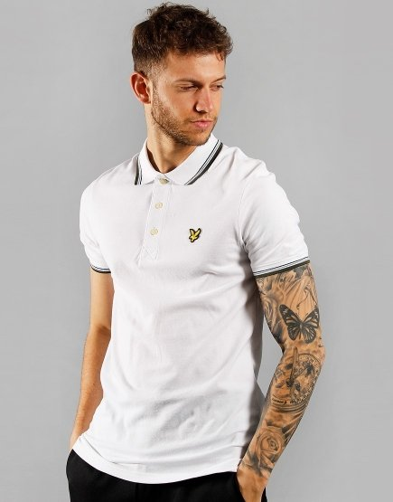 Lyle & Scott Tipped Polo Shirt White/Olive