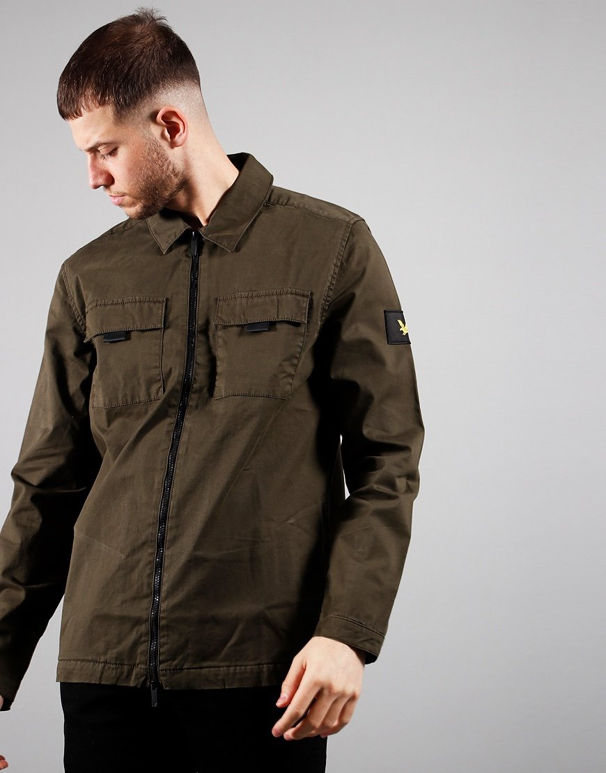 Lyle & Scott Zip Detail Overshirt Trek Green