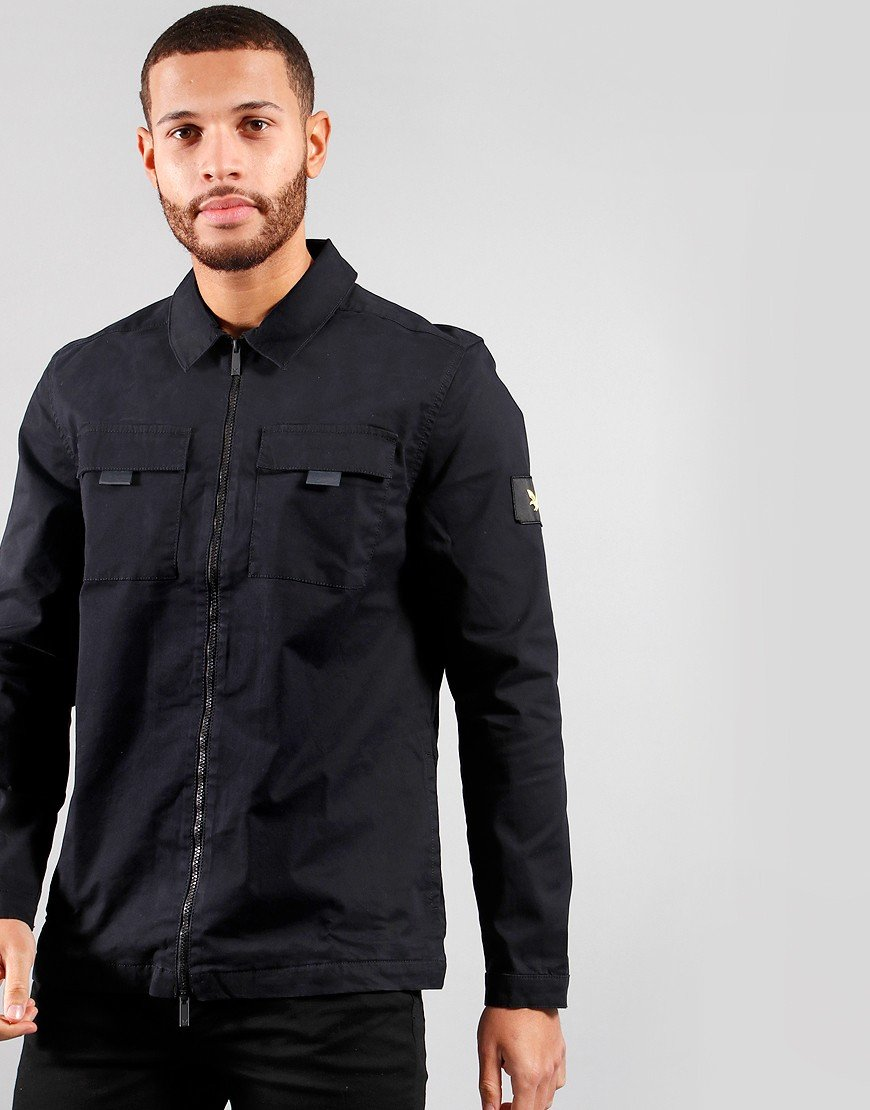 Lyle & Scott Zip Detail Overshirt Jet Black