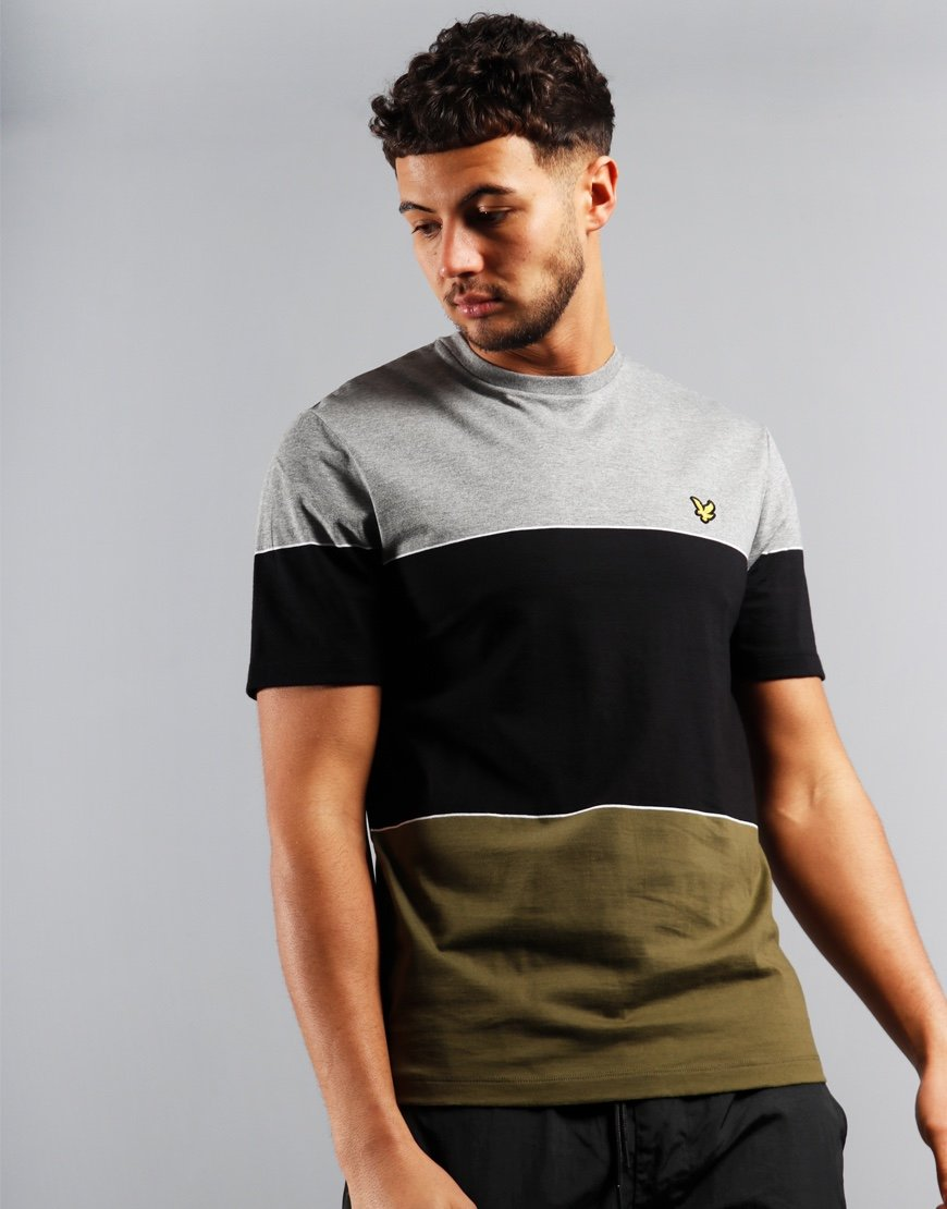 Lyle & Scott Wide Multi Stripe T-Shirt Lichen Green/Jet Black