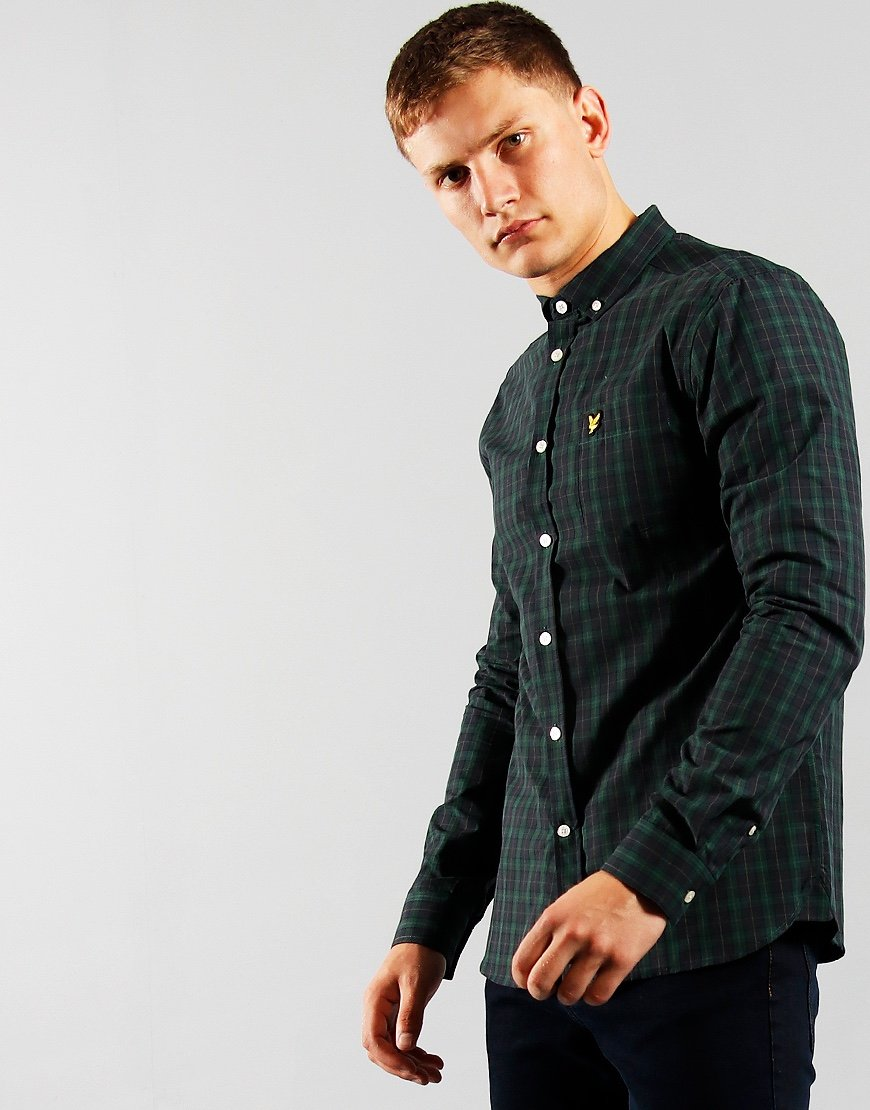 Lyle & Scott Check Shirt Poplin Dark Navy/Jade Green