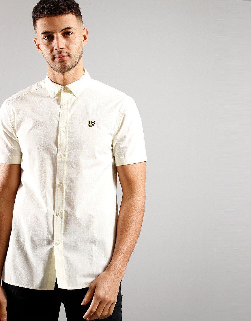 Lyle & Scott Short Sleeved Gingham Shirt Lemon/White